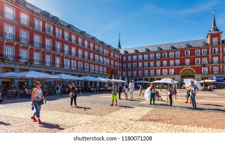 MADRID,SPAIN - 16 JUNE,2018:Tourist walking and shopping at plaza mayor in summer day