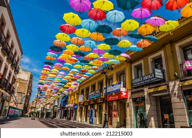 Madrid,Spain 25 July,2014, Street decorated with colored umbrellas