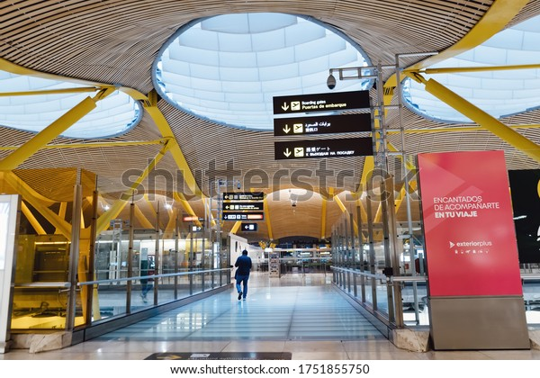 MADRID.SPAIN. CIRCA 2020. Barajas Airport. Hall for the registration of passengers. Baggage drop-off and receipt of tickets at front desk. Empty terminal. Global pandemic of coronovaris covid-19.