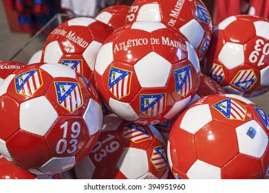 MADRID,SPAIN - CIRCA MARCH 2016: Atletico Madrid FC balls in the official club store