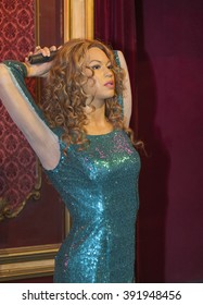 MADRID,SPAIN - CIRCA MARCH 2016: Shakira's figure in the city Wax Museum