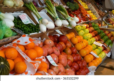 MADRID/SPAIN - OCTOBER 13 2012: Colorful fruit table in San Miguel Market, Madrid/Spain.