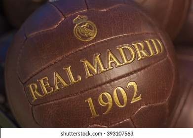 MADRID,SPAIN-CIRCA MARCH 2016: old leather ball in the exposition of Real Madrid museum at Santiago Bernabeu stadium