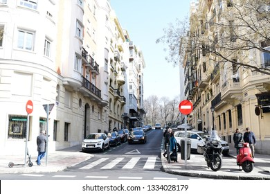 MADRID-SPAIN-FEB 19, 2019: The architecture of Madrid has preserved the look and feel of many of its historic neighbourhoods and streets, even though Madrid possesses a modern infrastructure.