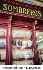 MADRID,SPAIN-JULY 25,2015:Display window, hat store,sombreros,Madrid.