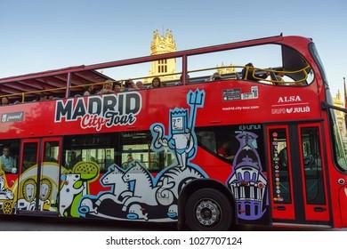 MADRID,SPAIN-JUNE,08,2016:Madrid City Tour bus