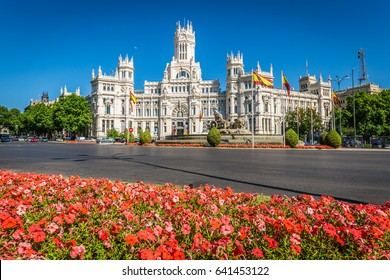 Madrid,Spain-May 27,2015: Cibeles Palace and fountain at the Plaza de Cibeles in Madrid, Spain