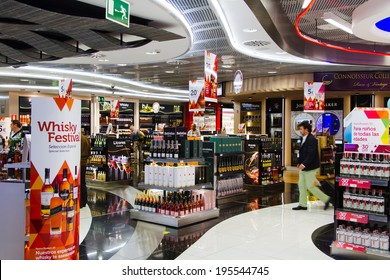 MADRIT, SPAIN - APRIL 20: Duty Free shop on April 20, 2013 in Madrid, Spain. Duty free shops are retail outlets that are exempt from the payment of certain local or national taxes and duties