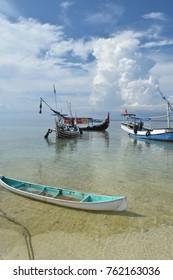 Madura, Indonesia - November 13, 2017: Fisherman at Gili Labak, Madura, East Java, Indonesia