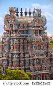 Madurai. India. 03.30.15. The ornate gopuram of the Meenakshi Amman Temple Hindu Temple in the city of Madurai in the Tamil Nadu region of India.