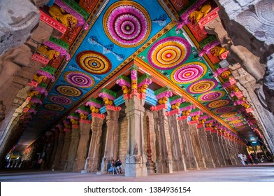 MADURAI, INDIA 18 FEBRUARY 2017 : An unidentified pilgrims at the Meenakshi Temple, Meenakshi Temple is one of the most holy place for hindu people in India.