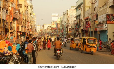 Madurai / India - January 2016: Busy street in India.