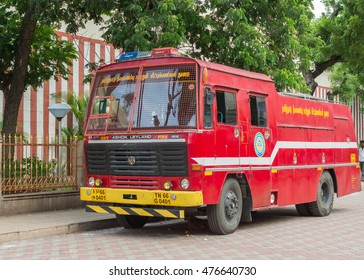 Madurai, India - October 19, 2013: An Ashok Leyland fire truck is parked on the side of the Meenakshi Temple in Madurai.