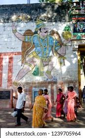 Madurai Tamil Nadu India August 24 2009 Garudas (Egal) big size painting on the gate wall of vishnus alagar kovil temple