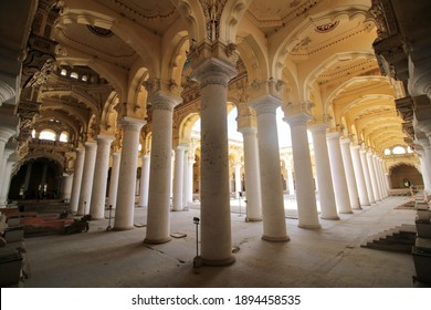 Madurai, Tamil Nadu, India - August 28, 2019: Interior of Thirumalai Nayak Palace is a 17th-century palace erected in 1636 AD by King Tirumala Nayaka, Madurai, India