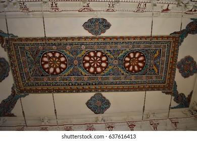 Madurai, Tamilnadu - India - March 21, 2017 - Artistic Paintings in Ceiling at Nayakkar Palace