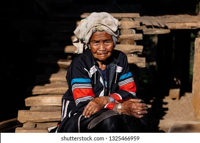 MAE HONG SON PROVINCE, THAILAND, FEBRUARY 15, 2019 : Portrait of Unidentified Elderly Lahu people at Ban Cha Bo village in Pang Mapha, Mae Hong Son, north Thailand on February 15, 2019.