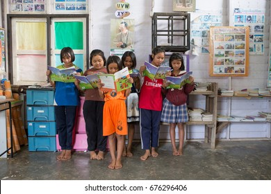 MAE HONG SON PROVINCE, THAILAND, 9 JULY 2017: A group of Karen children is back to their school and learning Thais language.
