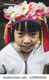 Mae Hong Son Province, Thailand.November19,2018: Karen At Longneck Hill Tribe Village(Baan Hauy Sue Tao) They Lifestyle Are Very Simply And Colorful. (Cinematic Tone)