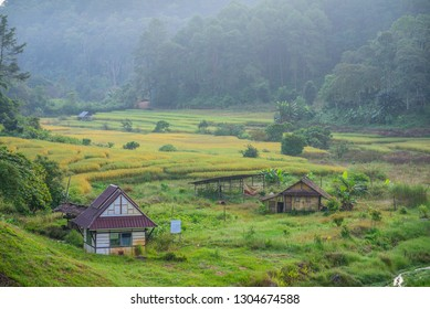 Mae Hong Son Thailand 10 November 2018 : The Cabin in the field in front of Pang Ung Lake