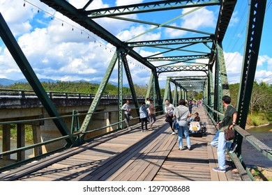 Mae hong son, THAILAND - 31 December 2018 : Pai Historical Bridge, an iron bridge for people walking and river views. Is the main tourist attraction of the Pai district.