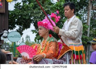 Mae Hong Son, Thailand - April 5, 2018: Poy sang long Festival, the event at Wat Krang Tung Temple in Mae Hong Son province, Thailand
