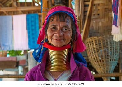 MAE HONG SON, THAILAND - DECEMBER 31 2011: Portrait of a long neck woman or Paduang which are part of the Karen tribe.