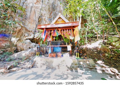 Mae Hong Son, Thailand - December10, 2019 : Pu Ruesi Narod Ta Chao Tham and followers Shrine at Lot Cave located in Pang Mapha District