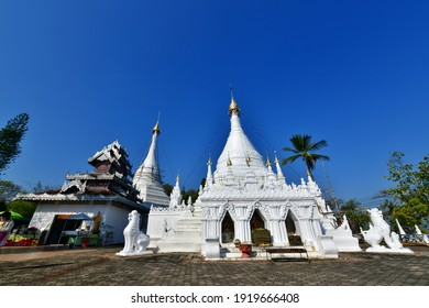 MAE HONG SON, THAILAND - February 11, 2021 :Wat Prathat Doi Kong Mu is located on Doi Kong Mu in the west of Mae Hong Son town where there is a beautiful white pagoda.