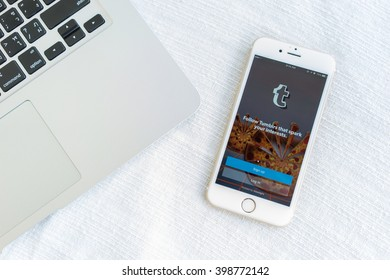 MAE HONG SON, THAILAND - MARCH 13, 2016: Tumblr micro-blogging service that allows users to post text messages on Apple iphone 6S, images, videos, links, quotes and audio to their tumblelog.