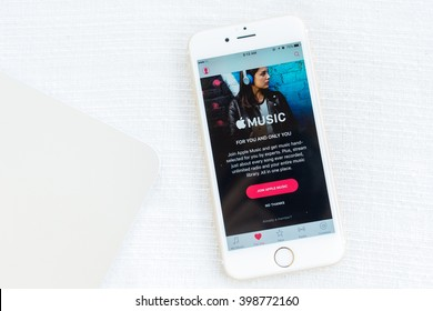 MAE HONG SON, THAILAND - MARCH 13, 2015: Apple music the world largest internet music app on smartphone device screen on Apple iPhone 6S.