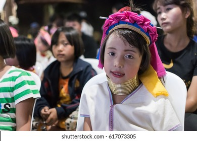 """Mae hong son, Thailand - March 31, 2017 : Kayan people are sub group of Red Karen that is one of tribes in Myanmar, Some of them evacuate to north of Thailand. Thai people call them """"Long Neck Karen""""."""