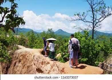 Mae Hong Son, Thailand - May 25 2018: Tourists are walking on Pai Canyon at Mae Hong Son.
