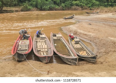 Mae Hong Son -THAILAND, Nov. 9,2011 :   view of long-tail boat group floating on the bank, Hui Pu Kaeng longneck village near by Thai-Myanmar border
