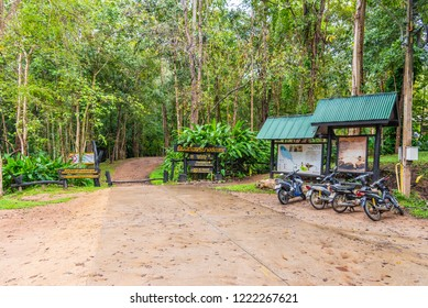 Mae Hong Son , Thailand - October 22, 2018:Front entrance to see a information board at Pong Nam Ron Tha Pai hot spring the famous attraction lanmark at Pai district, Mae Hong Son , Thailand
