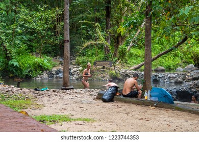 Mae Hong Son , Thailand - October 22, 2018:Unrecognizable people at Pong Nam Ron Tha Pai hot spring the famous attraction lanmark at Pai district, Mae Hong Son , Thailand