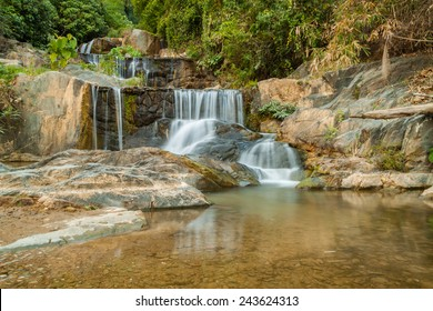 Mae pool waterfall in rain forest in Thailand