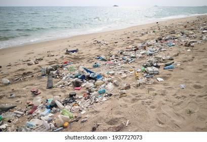 Mae Rumphueng Beach, Rayong, Thailand - March 16, 2021:  Rubbish pollution from ocean ashore to Mae Rumphueng Beach