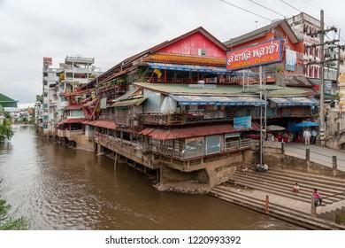 Mae Sai, Chiang Rai Province, Thailand - November 21 2009: Sai River, forming the natural border between Thailand and Myanmar