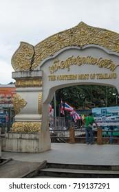 """Mae Sai"" city top of Thailand next to Tachilek province, Myanmar, September 2017"