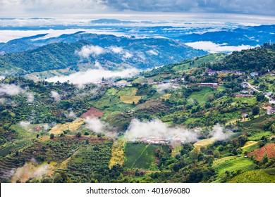 Mae Salong aerial view, Chiang Rai Province, Northern Thailand