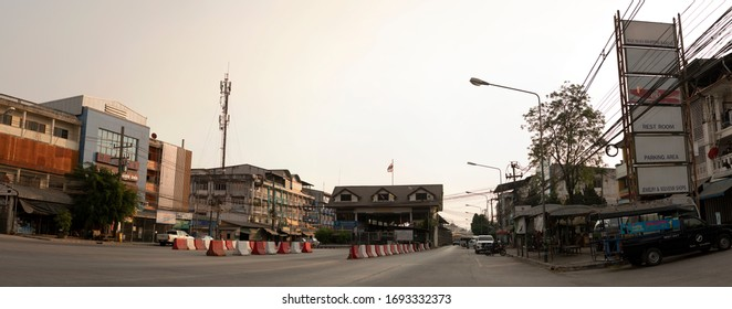 Mae Sot, Tak, Thailand - April 03, 2020 : The atmosphere is quiet after Mae Sot boundary closed due to the Covid-19 spread in Thailand.