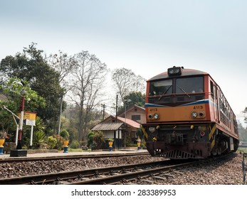 MAE TAN NOI, THAILAND - MARCH 22 2015: Remote train station Mae Tan Noi on one of the hottest recorded days in Northern Thailand.