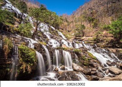 Mae Ya Waterfall with the steep drops and different layers in the Inthanon National Park, Chaingmai Thailand