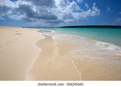 Maehama beach in Miyakojima, Okinawa, Japan. One of the  most beautiful beaches in Asia