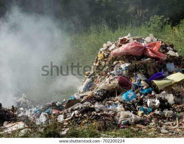 MAEHONGSON PROVINCE, THAILAND-DECEMBER 23 2016, Waste from household in waste landfill. Waste burning in dumping site in THAILAND
