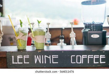Maehongson, Thailand - Oct 4 2016 : matcha greentea freppe on the coffee bar on Oct 4, 2016 in Maehongson, Thailand