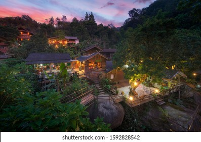 Maekampong View , Ban Mae Kampong village is surrounded by area hill evergreen forest in Chiang Mai, Thailand