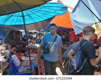 maeklong railway market Thailand - April 21, 2017 : This market,close to Maeklong Railway Station,This market  ,Samut Songkhram inThailand