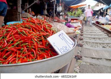Maeklong, Thailand - March 17, 2017: Red pepper sold in Maeklong Railway Market on March 17, 2017.